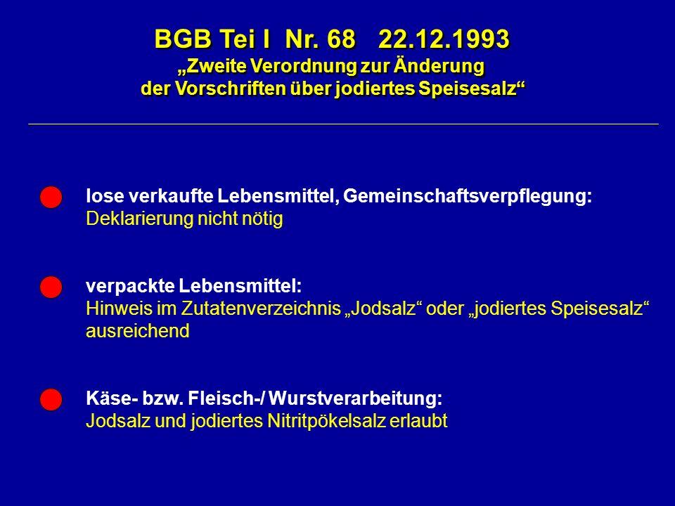 BGB Tei I Nr. 68 22.12.1993 Zweite Verordnung zur Änderung der Vorschriften über jodiertes Speisesalz BGB Tei I Nr. 68 22.12.1993 Zweite Verordnung zu