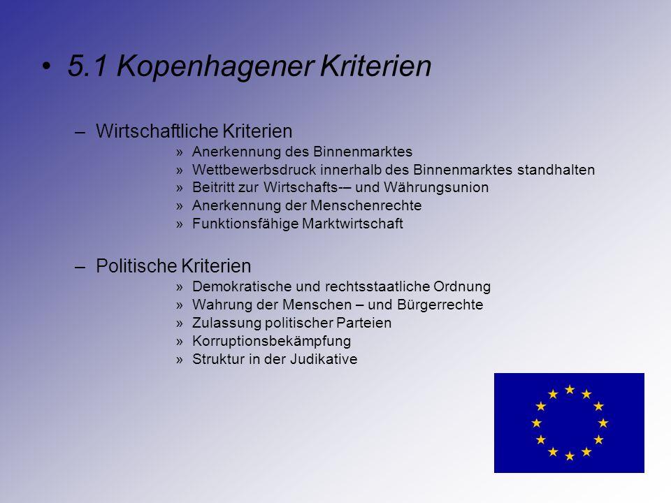 5.1 Kopenhagener Kriterien –Wirtschaftliche Kriterien »Anerkennung des Binnenmarktes »Wettbewerbsdruck innerhalb des Binnenmarktes standhalten »Beitri