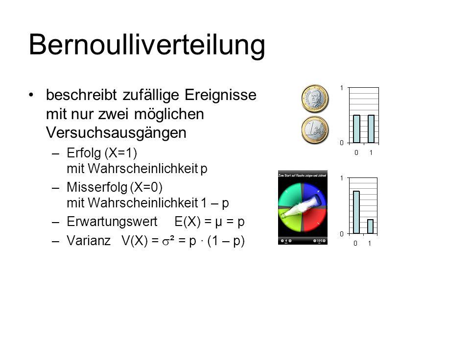 Bernoulliverteilung beschreibt zufällige Ereignisse mit nur zwei möglichen Versuchsausgängen –Erfolg (X=1) mit Wahrscheinlichkeit p –Misserfolg (X=0)