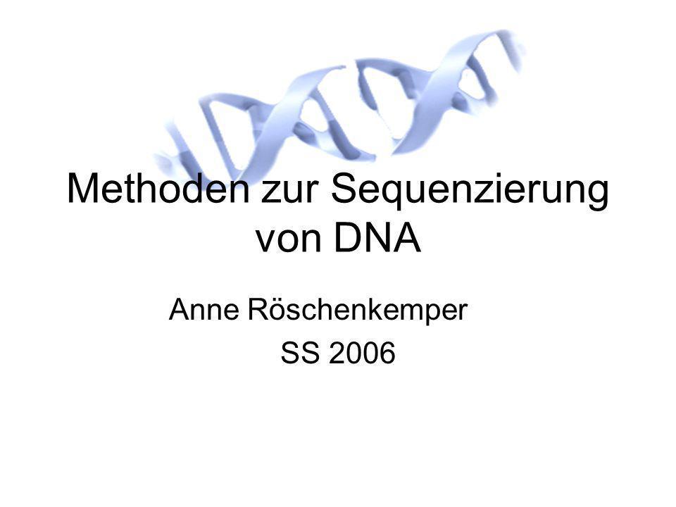 DNA-Sequenzierung12 Die Maxam-Gilbert-Methode Spezifische Spaltung an C Ähnlich der C&T-Spaltung Reagenzien: Hydrazin Piperidin Zusätzlich: Lösung enthält NaCl Dadurch findet die Spaltung fast nur an C statt Ermittlung der T-Positionen durch Vergleich von C und T&C