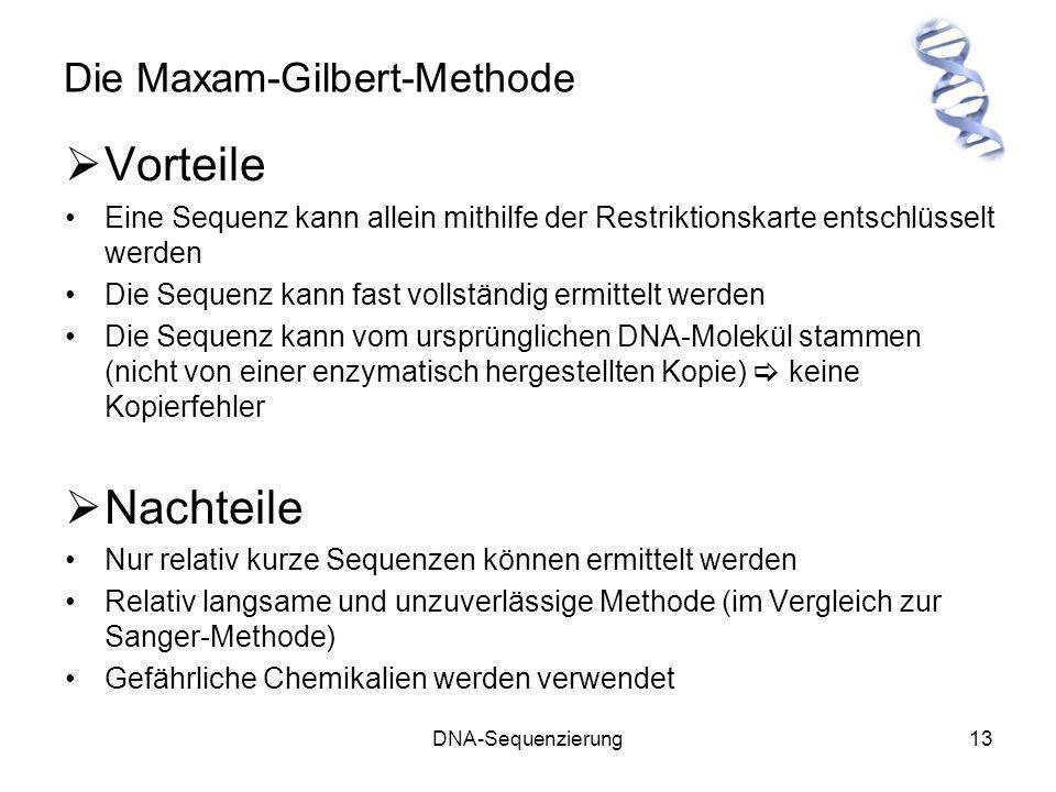 DNA-Sequenzierung13 Die Maxam-Gilbert-Methode Vorteile Eine Sequenz kann allein mithilfe der Restriktionskarte entschlüsselt werden Die Sequenz kann f
