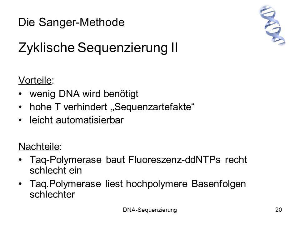 DNA-Sequenzierung20 Die Sanger-Methode Zyklische Sequenzierung II Vorteile: wenig DNA wird benötigt hohe T verhindert Sequenzartefakte leicht automati