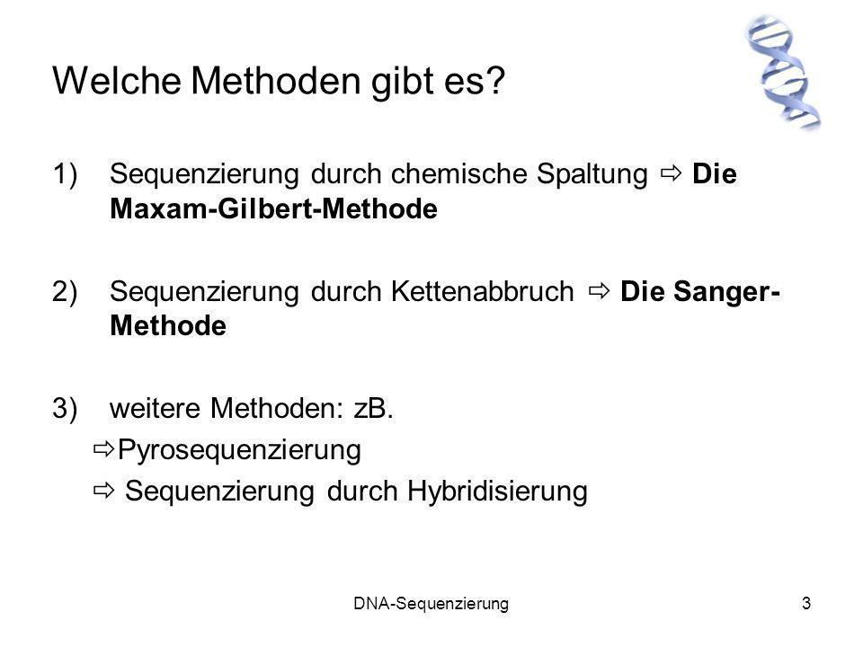 DNA-Sequenzierung3 Welche Methoden gibt es? 1)Sequenzierung durch chemische Spaltung Die Maxam-Gilbert-Methode 2)Sequenzierung durch Kettenabbruch Die