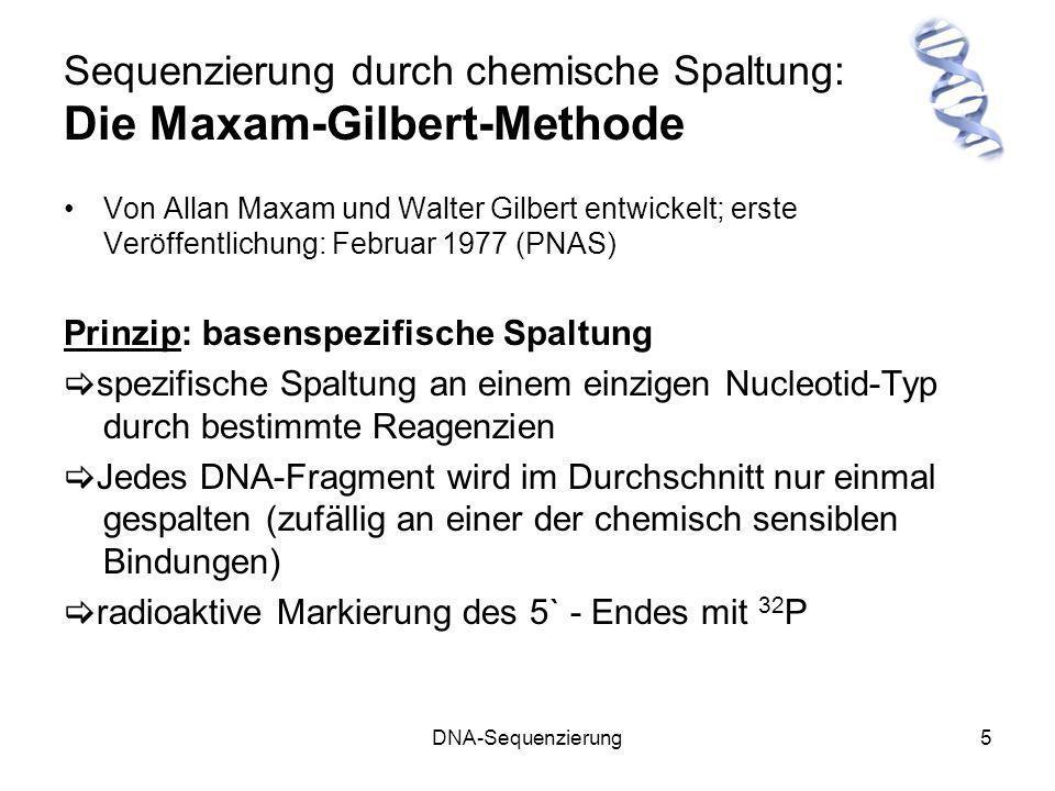 DNA-Sequenzierung6 Die Maxam-Gilbert-Methode Markierung des 5´-Endes mit 32 P Wenn schon P an 5´ vorhanden: Im zweiten Schritt wird nun radioaktiv markiertes ATP benötigt (am γ- Phosphor-Atom )