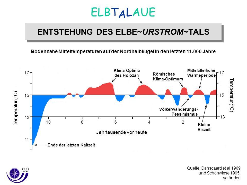 Quelle: G. Miehlich Institut für Bodenkunde Universität Hamburg ENTSTEHUNG DES ELBE~URSTROM~TALS A ELBT LAUE Lotse t e x t Bodennahe Mitteltemperature