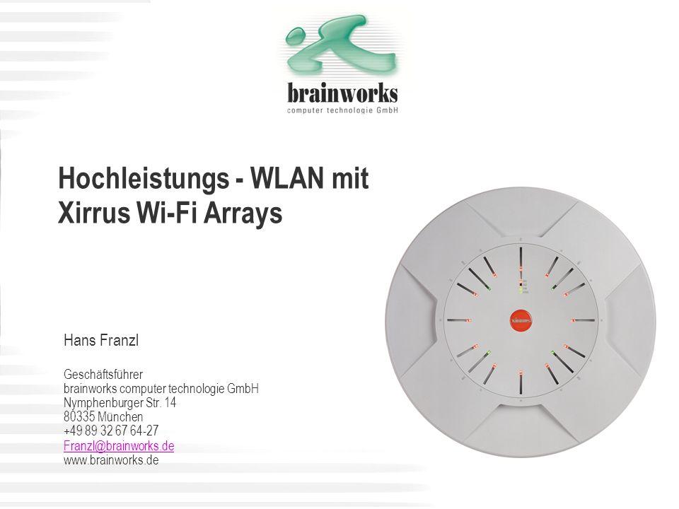 Xirrus Highlights im Vergleich zu traditionellen Wi-Fi-Systemen Wi-Fi Reichweite – doppelte Reichweite, vierfache Abdeckung Überdurchschnittlicher Wi-Fi Durchsatz – Kapazität für große Benutzerdichte Exzellente Wi-Fi Performance – bis zu 8-fache Bandbreite und 14-facher Datendurchsatz Umfangreiches Funkzellen Management – automatische Optimierung von Kanalnutzung, Funkzellen, Interferenzen und Last Sehr hohe Wi-Fi Sicherheit – alle gängigen Verschlüsselungsoptionen, integrierte Wi-Fi Firewall und Wi-Fi Threat Sensor Durchgängige QoS – Tagging und Priorisierung des Wi-Fi Verkehr in der Funkzelle und in Ihr Core Netzwerk Investitions- und zukunftssicher – modulares Design, Flash basierend und 802.11n-ready Sparsam bei Aufwand und Kosten – 75% weniger Access Points, Verkabelung, Switch Ports und Installationszeit