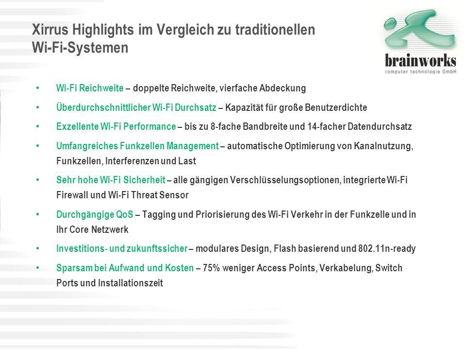 Xirrus Highlights im Vergleich zu traditionellen Wi-Fi-Systemen Wi-Fi Reichweite – doppelte Reichweite, vierfache Abdeckung Überdurchschnittlicher Wi-