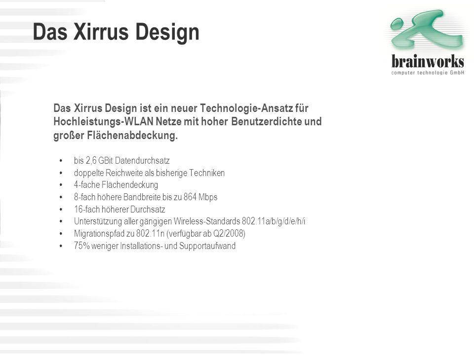 Das Xirrus Design Das Xirrus Design ist ein neuer Technologie-Ansatz für Hochleistungs-WLAN Netze mit hoher Benutzerdichte und großer Flächenabdeckung