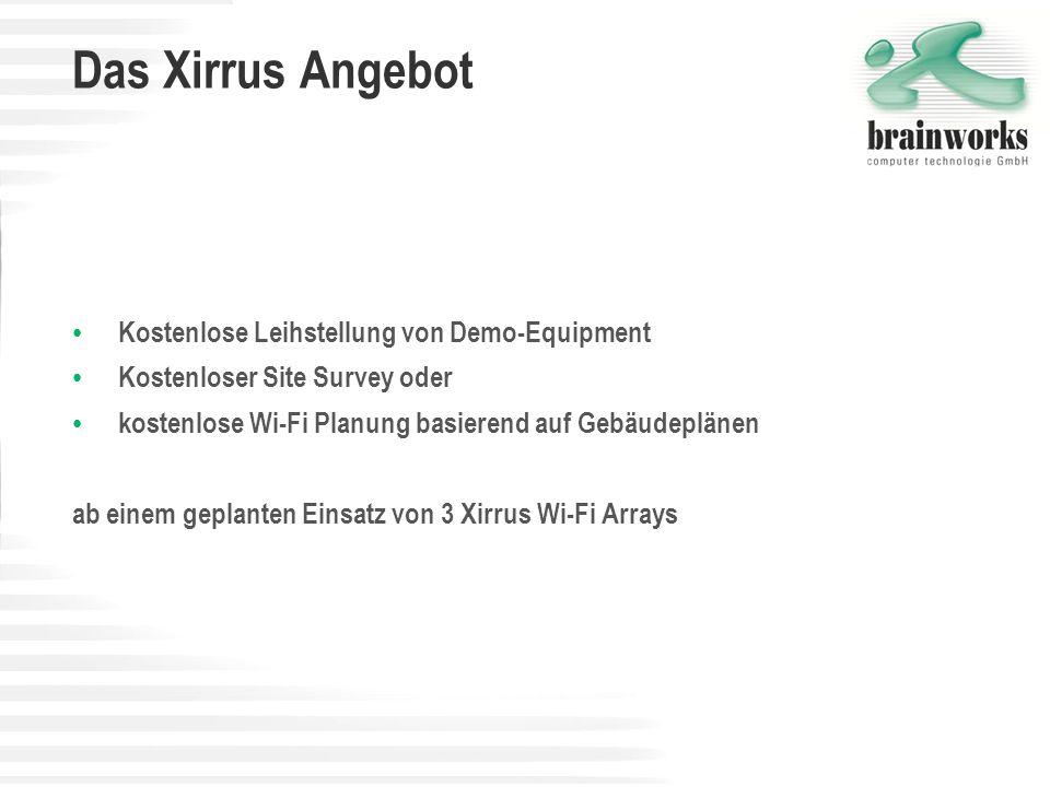 Das Xirrus Angebot Kostenlose Leihstellung von Demo-Equipment Kostenloser Site Survey oder kostenlose Wi-Fi Planung basierend auf Gebäudeplänen ab ein