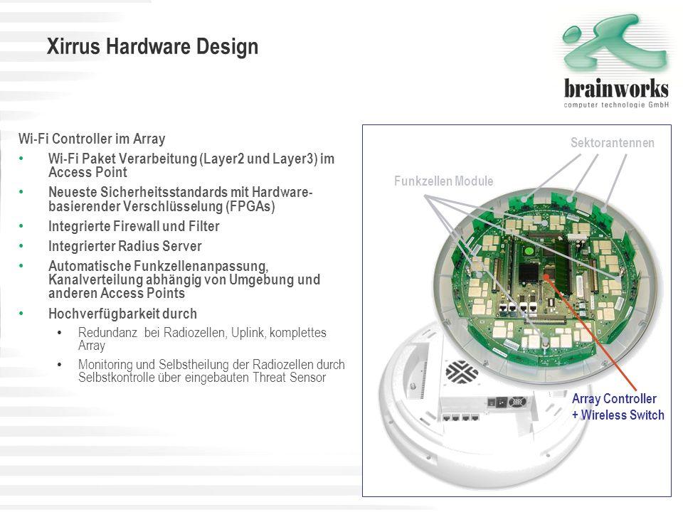 Xirrus Bandbreite Durch den eingebauten Wi-Fi-Switch mit GigaBit-Anschluss kann die optimale Bandbreite für viele Benutzer bereitgestellt werden.