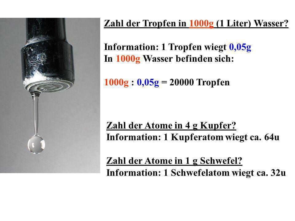 Zahl der Tropfen in 1000g (1 Liter) Wasser? Information: 1 Tropfen wiegt 0,05g In 1000g Wasser befinden sich: 1000g : 0,05g = 20000 Tropfen Zahl der A