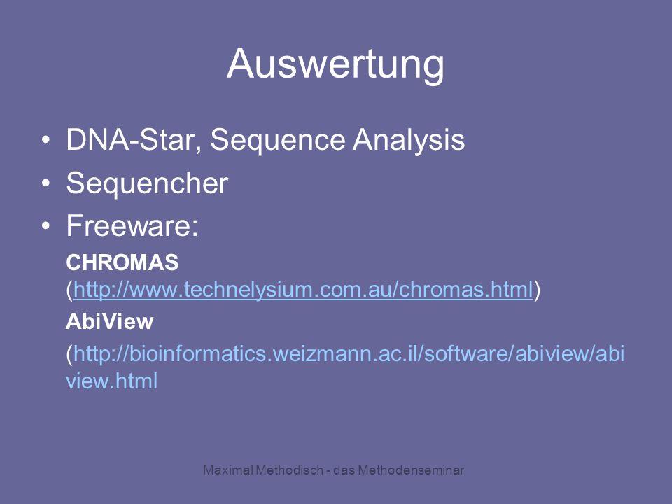 Maximal Methodisch - das Methodenseminar Auswertung DNA-Star, Sequence Analysis Sequencher Freeware: CHROMAS (http://www.technelysium.com.au/chromas.h