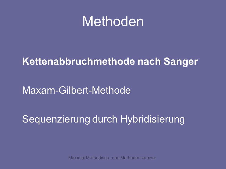 Maximal Methodisch - das Methodenseminar Methoden Kettenabbruchmethode nach Sanger Maxam-Gilbert-Methode Sequenzierung durch Hybridisierung