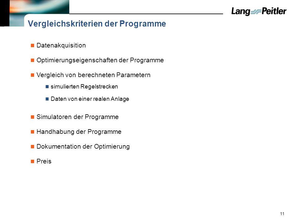 11 Vergleichskriterien der Programme Datenakquisition Optimierungseigenschaften der Programme Vergleich von berechneten Parametern simulierten Regelst