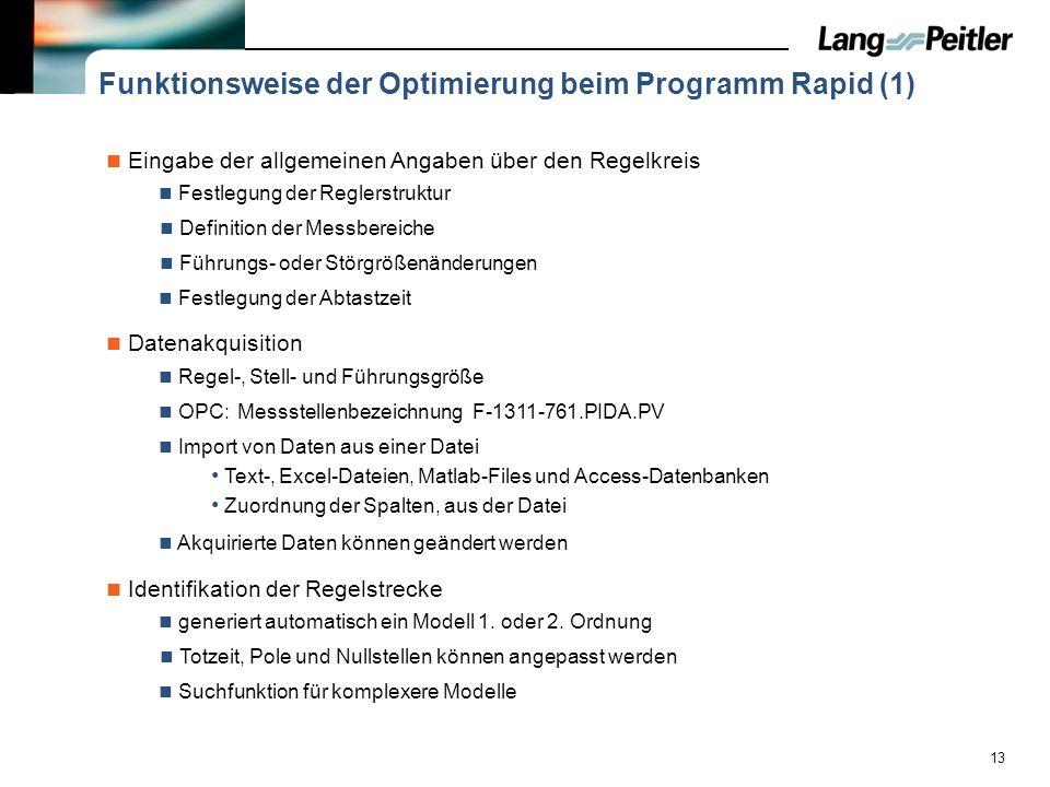 13 Funktionsweise der Optimierung beim Programm Rapid (1) Eingabe der allgemeinen Angaben über den Regelkreis Festlegung der Reglerstruktur Definition