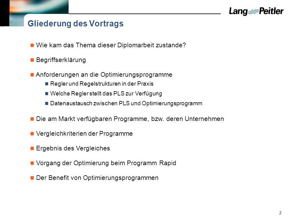 2 Gliederung des Vortrags Wie kam das Thema dieser Diplomarbeit zustande? Begriffserklärung Die am Markt verfügbaren Programme, bzw. deren Unternehmen