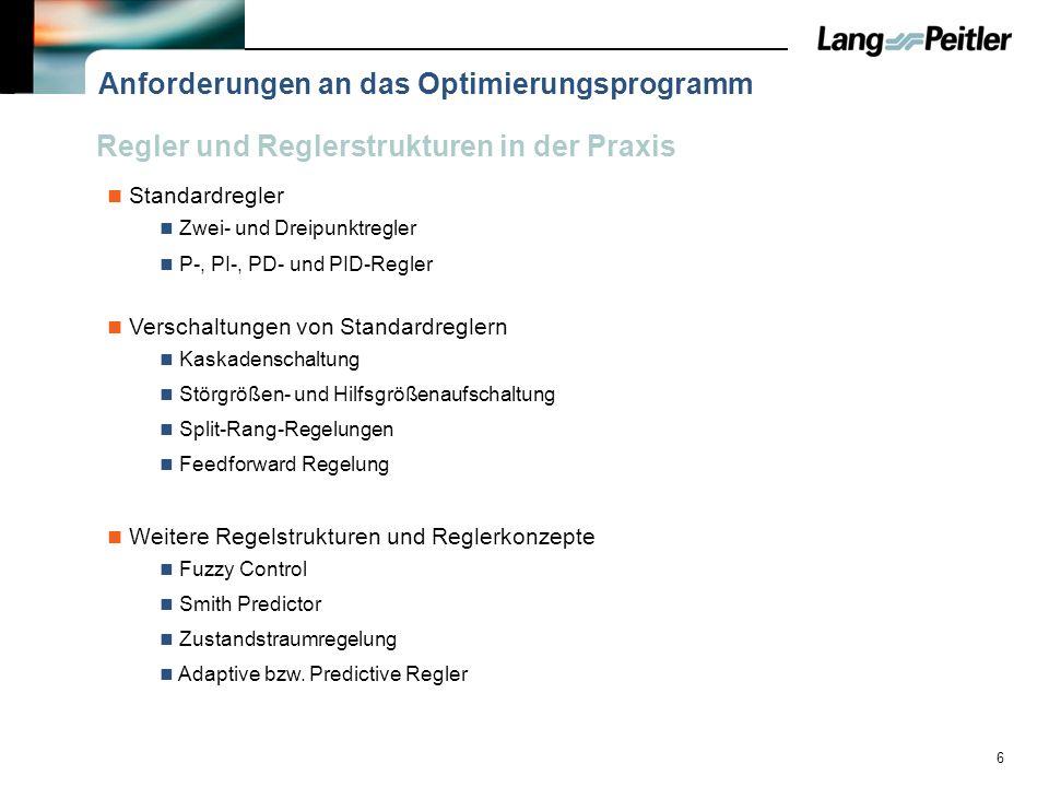 6 Anforderungen an das Optimierungsprogramm Standardregler Zwei- und Dreipunktregler P-, PI-, PD- und PID-Regler Verschaltungen von Standardreglern Ka