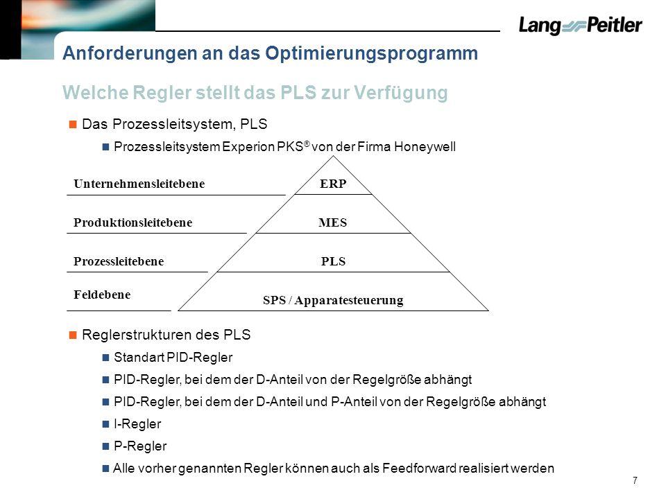 7 Welche Regler stellt das PLS zur Verfügung Reglerstrukturen des PLS Prozessleitsystem Experion PKS ® von der Firma Honeywell Standart PID-Regler Anf