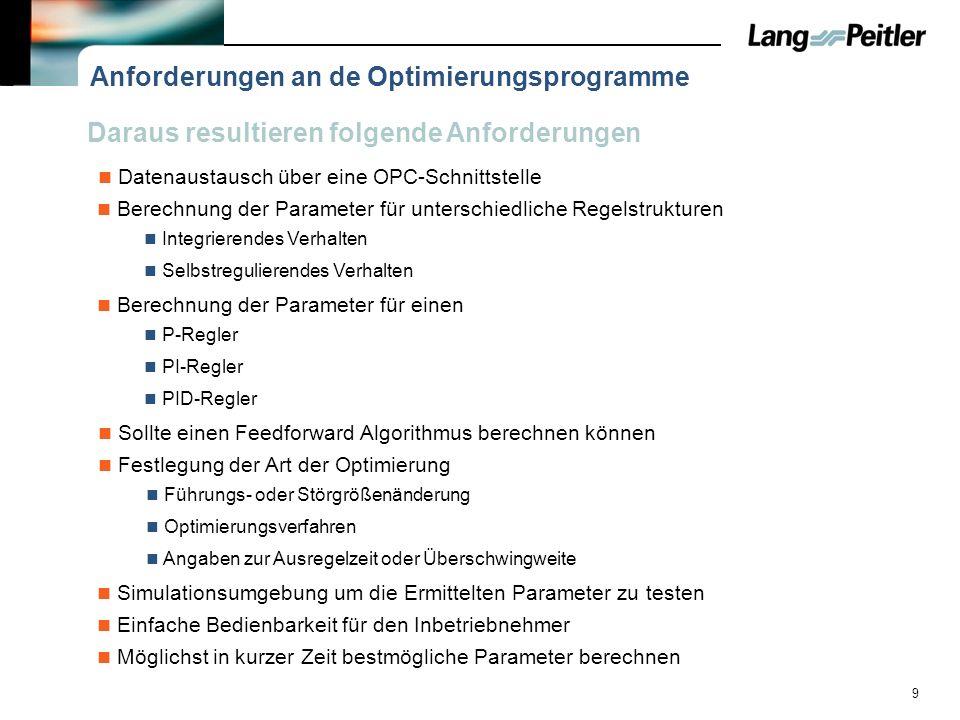 9 Anforderungen an de Optimierungsprogramme Datenaustausch über eine OPC-Schnittstelle Sollte einen Feedforward Algorithmus berechnen können Simulatio