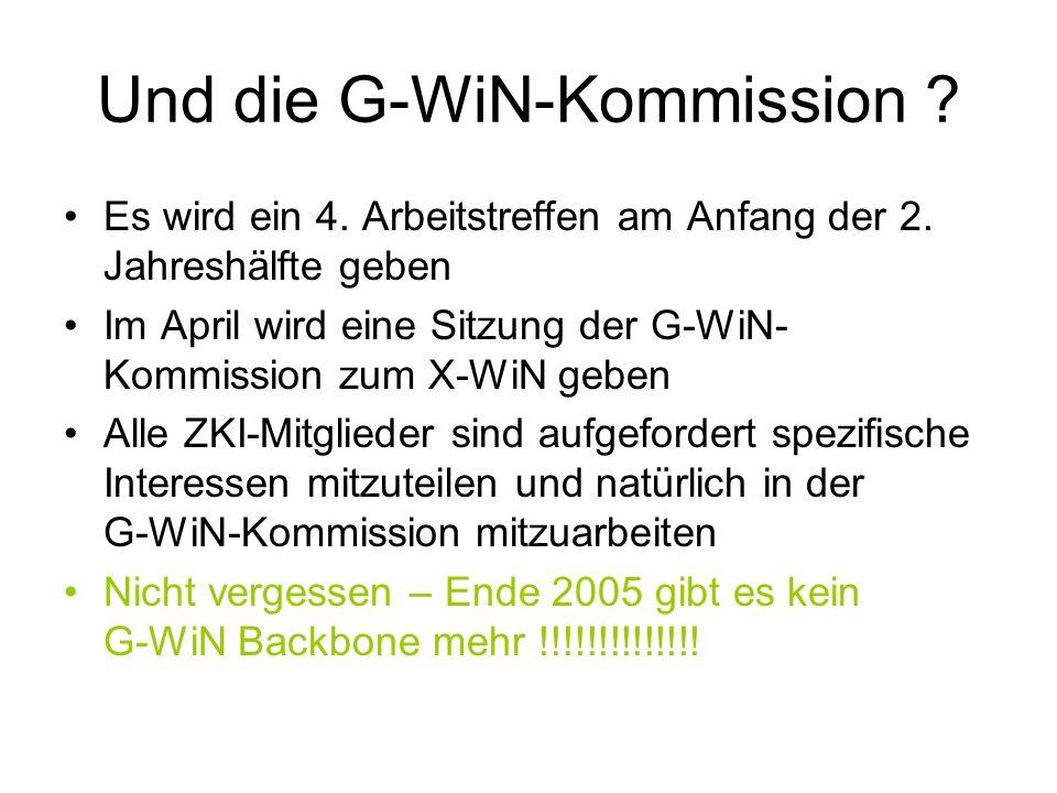 Und die G-WiN-Kommission ? Es wird ein 4. Arbeitstreffen am Anfang der 2. Jahreshälfte geben Im April wird eine Sitzung der G-WiN- Kommission zum X-Wi