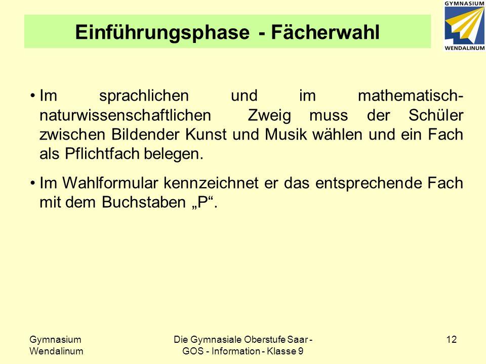 Gymnasium Wendalinum Die Gymnasiale Oberstufe Saar - GOS - Information - Klasse 9 12 Einführungsphase - Fächerwahl Im sprachlichen und im mathematisch