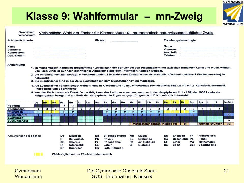 Gymnasium Wendalinum Die Gymnasiale Oberstufe Saar - GOS - Information - Klasse 9 21 Klasse 9: Wahlformular – mn-Zweig