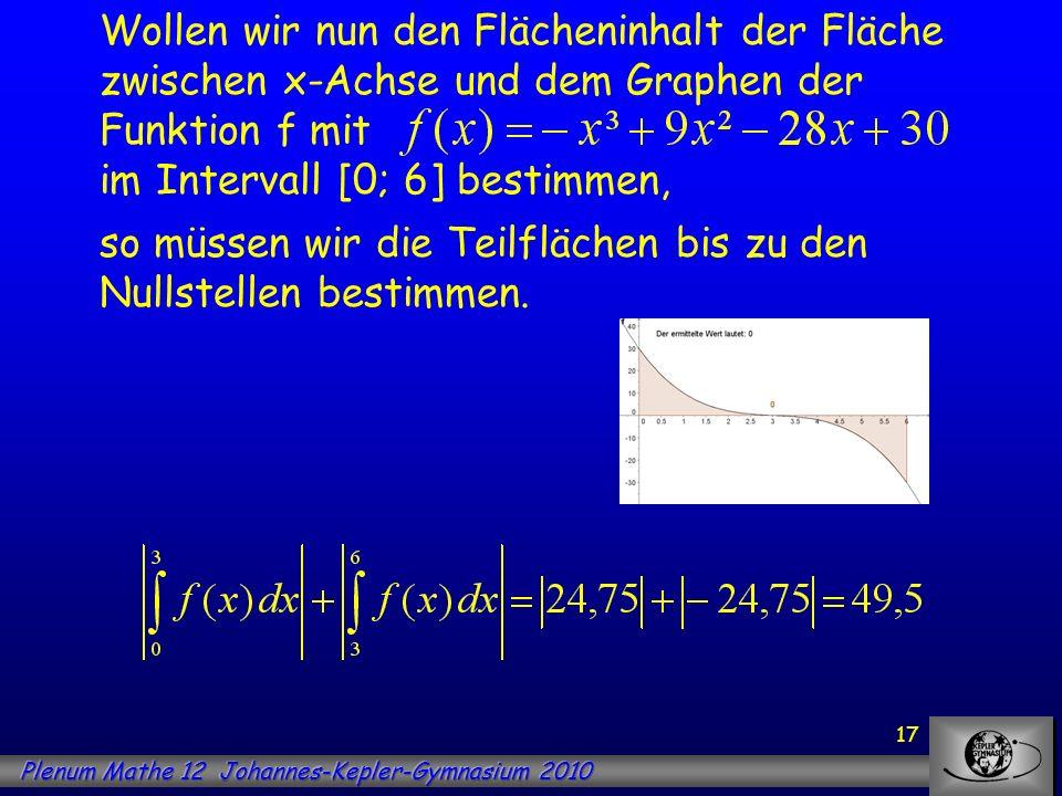 17 Wollen wir nun den Flächeninhalt der Fläche zwischen x-Achse und dem Graphen der Funktion f mit im Intervall [0; 6] bestimmen, so müssen wir die Te