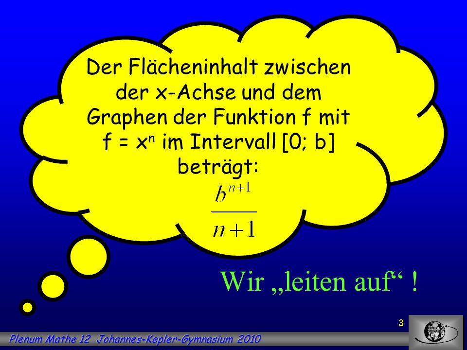 3 Der Flächeninhalt zwischen der x-Achse und dem Graphen der Funktion f mit f = x n im Intervall [0; b] beträgt: Wir leiten auf !