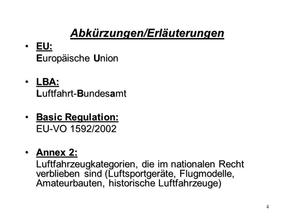 4 Abkürzungen/Erläuterungen EU:EU: Europäische Union LBA:LBA: Luftfahrt-Bundesamt Basic Regulation:Basic Regulation: EU-VO 1592/2002 Annex 2:Annex 2: