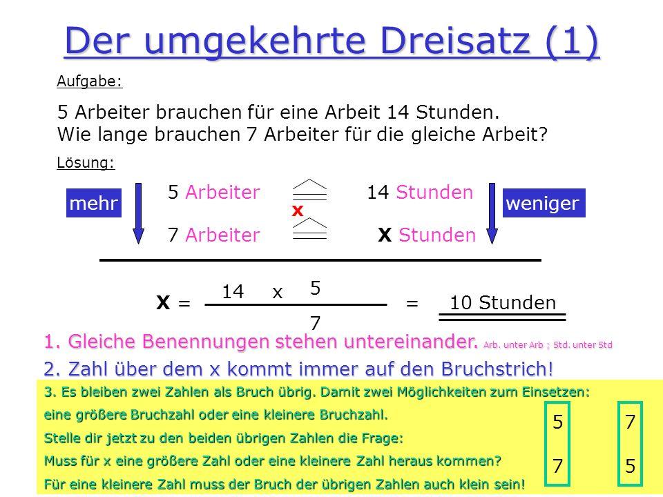 Der umgekehrte Dreisatz (1) Aufgabe: 5 Arbeiter brauchen für eine Arbeit 14 Stunden. Wie lange brauchen 7 Arbeiter für die gleiche Arbeit? Lösung: 5 A