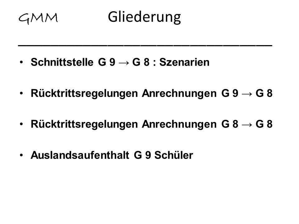 GMM Gliederung _______________________________ Schnittstelle G 9 G 8 : Szenarien Rücktrittsregelungen Anrechnungen G 9 G 8 Rücktrittsregelungen Anrech