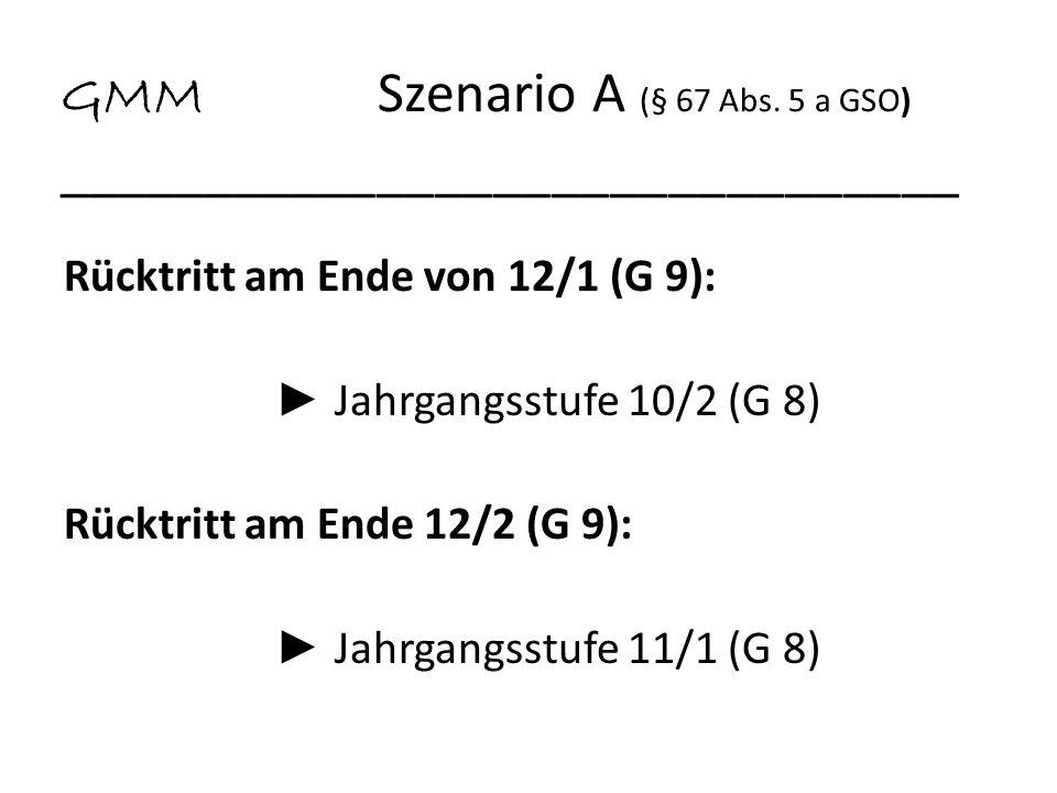 GMM Szenario A (§ 67 Abs. 5 a GSO) _______________________________ Rücktritt am Ende von 12/1 (G 9): Jahrgangsstufe 10/2 (G 8) Rücktritt am Ende 12/2