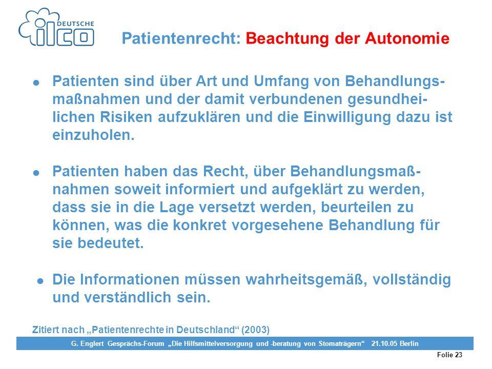 Folie 23 Projekt Darmkrebs-Informationsstelle, gefördert von der Deutschen Krebshilfe Vereinigung von Stomaträgern (künstlicher Darmausgang, künstlich