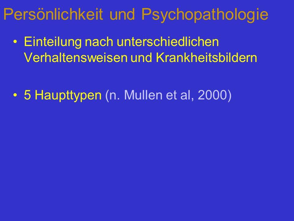 Persönlichkeit und Psychopathologie Einteilung nach unterschiedlichen Verhaltensweisen und Krankheitsbildern 5 Haupttypen (n. Mullen et al, 2000)
