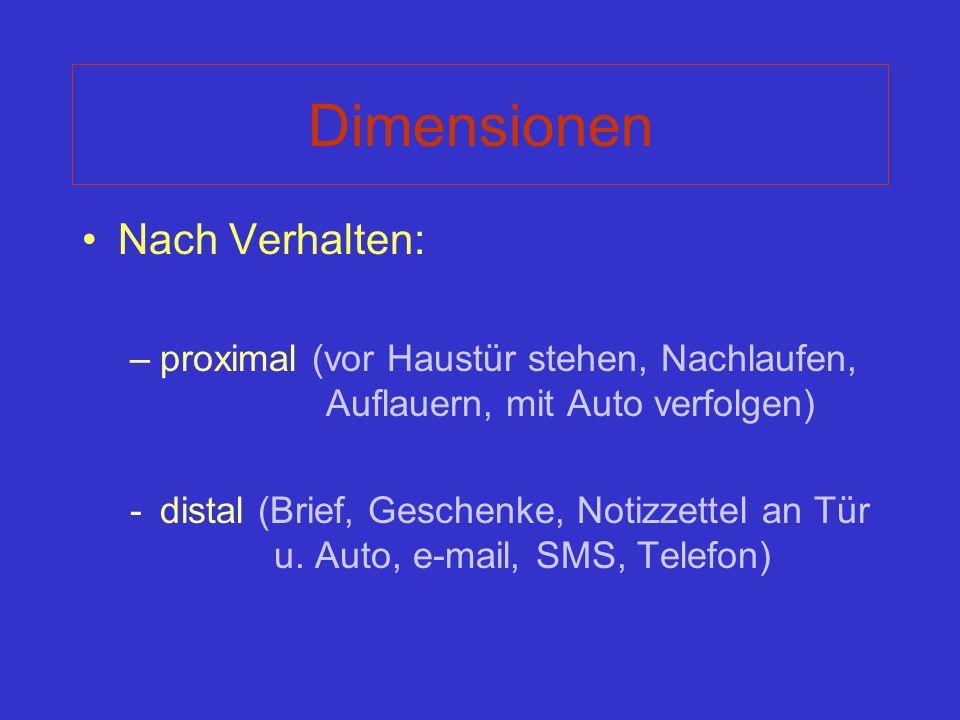 Dimensionen Nach Verhalten: –proximal (vor Haustür stehen, Nachlaufen, Auflauern, mit Auto verfolgen) -distal (Brief, Geschenke, Notizzettel an Tür u.