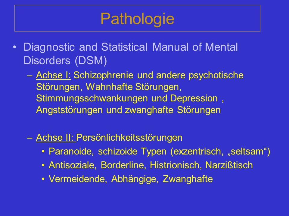 Pathologie Diagnostic and Statistical Manual of Mental Disorders (DSM) –Achse I: Schizophrenie und andere psychotische Störungen, Wahnhafte Störungen,