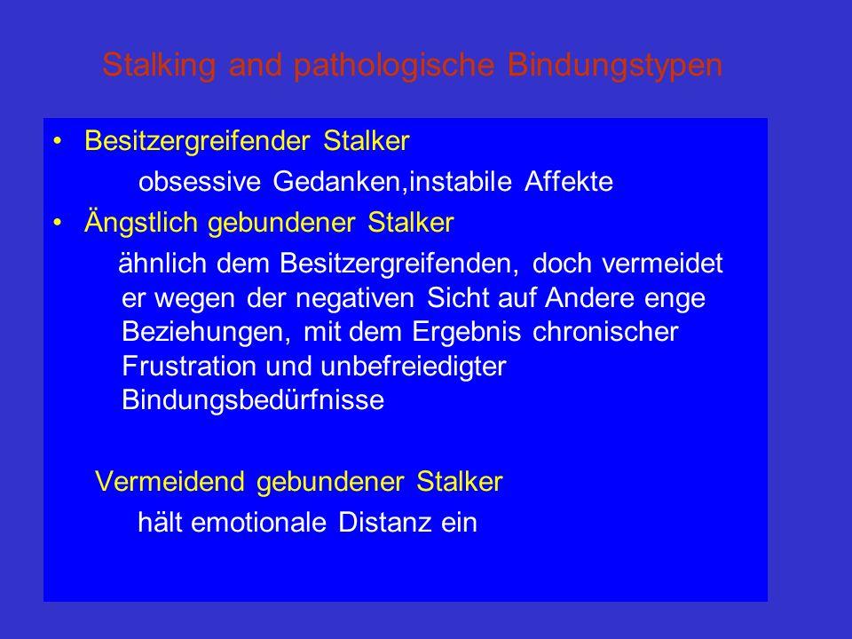 Stalking and pathologische Bindungstypen Besitzergreifender Stalker obsessive Gedanken,instabile Affekte Ängstlich gebundener Stalker ähnlich dem Besi