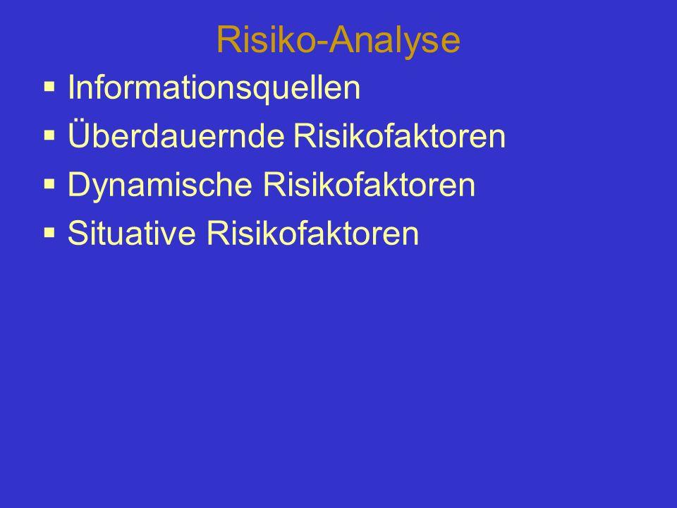 Risiko-Analyse Informationsquellen Überdauernde Risikofaktoren Dynamische Risikofaktoren Situative Risikofaktoren