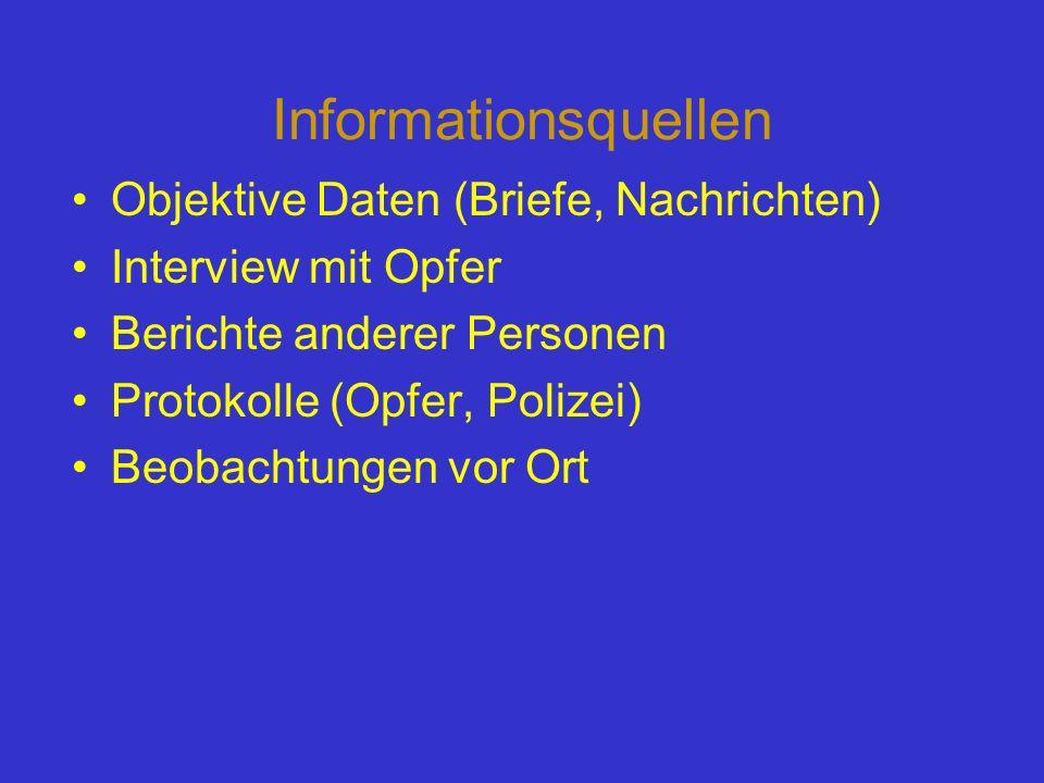 Informationsquellen Objektive Daten (Briefe, Nachrichten) Interview mit Opfer Berichte anderer Personen Protokolle (Opfer, Polizei) Beobachtungen vor
