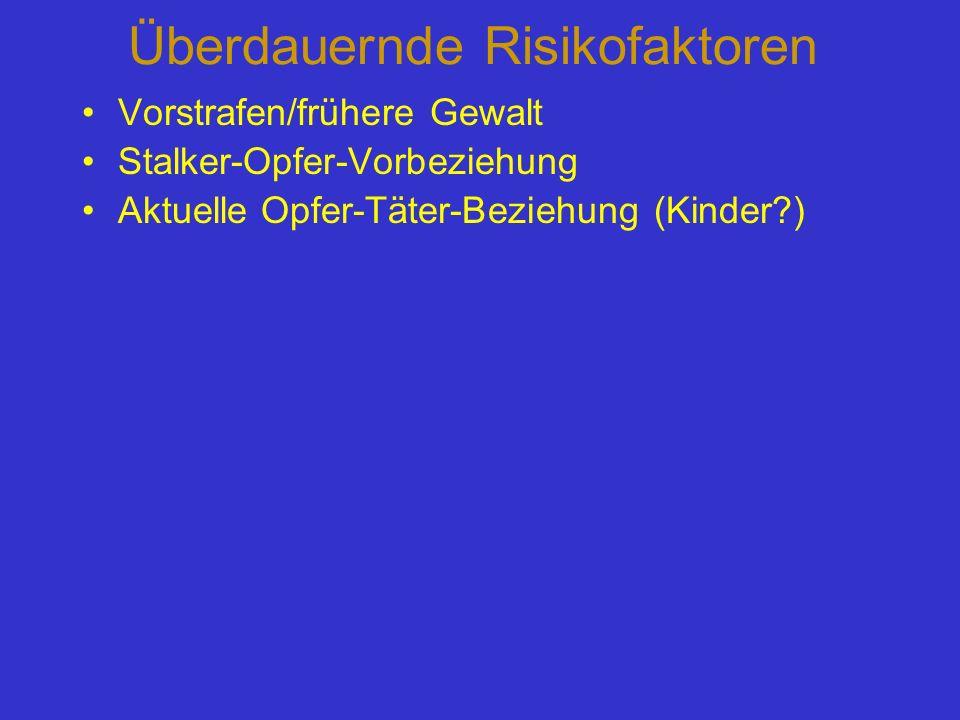 Überdauernde Risikofaktoren Vorstrafen/frühere Gewalt Stalker-Opfer-Vorbeziehung Aktuelle Opfer-Täter-Beziehung (Kinder?)