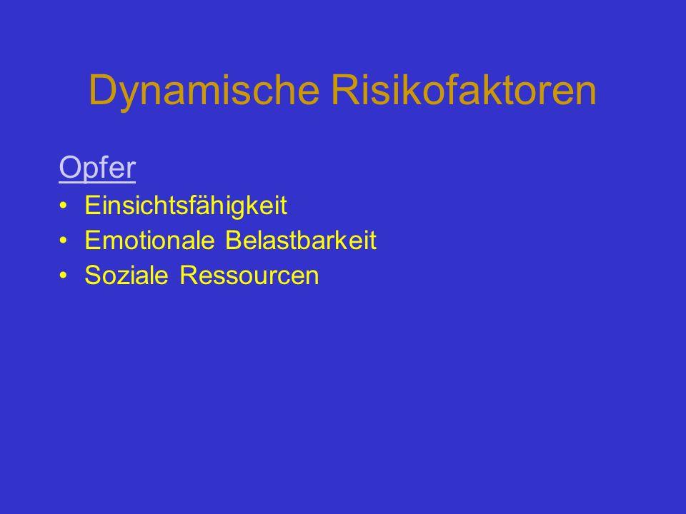 Dynamische Risikofaktoren Opfer Einsichtsfähigkeit Emotionale Belastbarkeit Soziale Ressourcen