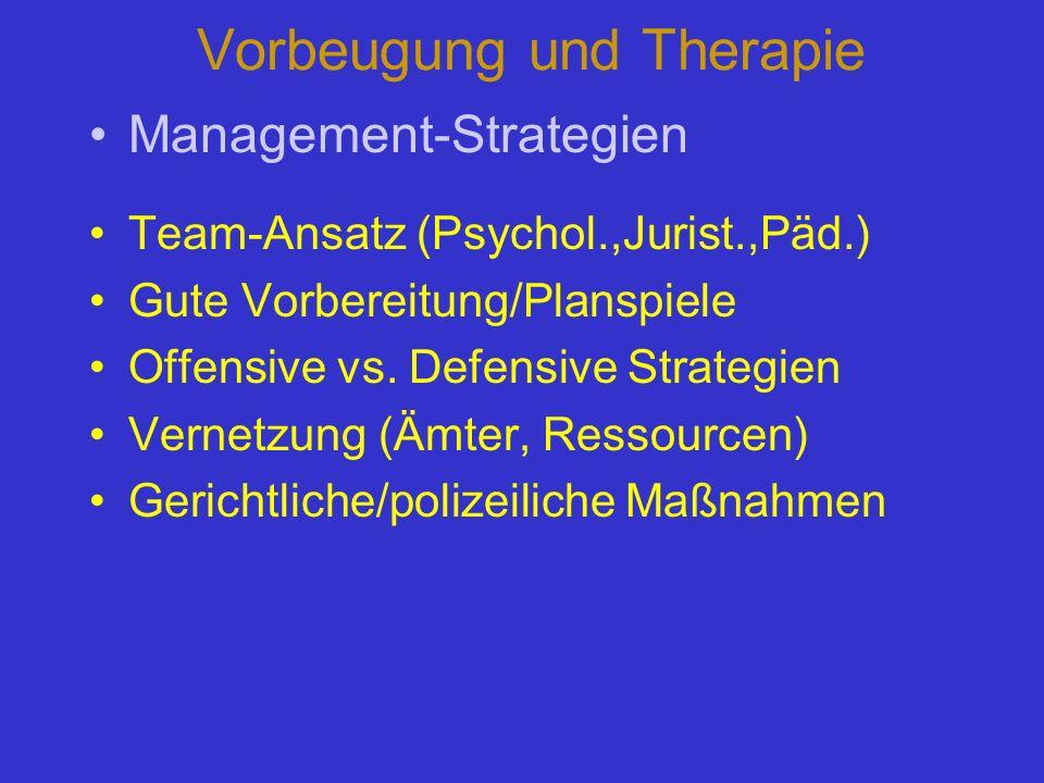 Vorbeugung und Therapie Management-Strategien Team-Ansatz (Psychol.,Jurist.,Päd.) Gute Vorbereitung/Planspiele Offensive vs. Defensive Strategien Vern