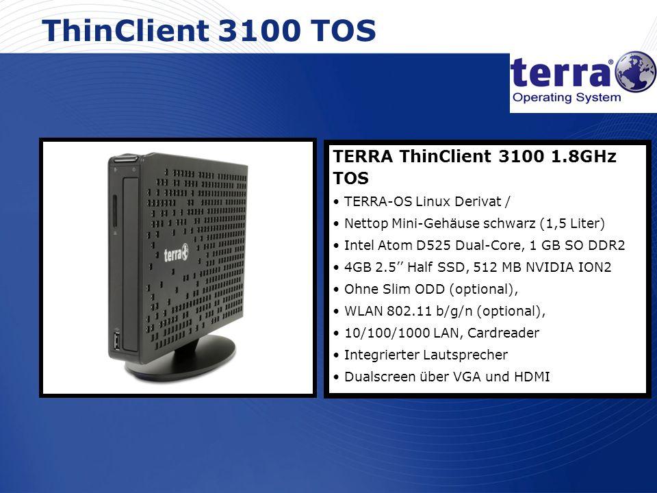 www.wortmann.de ThinClient 3100 TOS TERRA ThinClient 3100 1.8GHz TOS TERRA-OS Linux Derivat / Nettop Mini-Gehäuse schwarz (1,5 Liter) Intel Atom D525