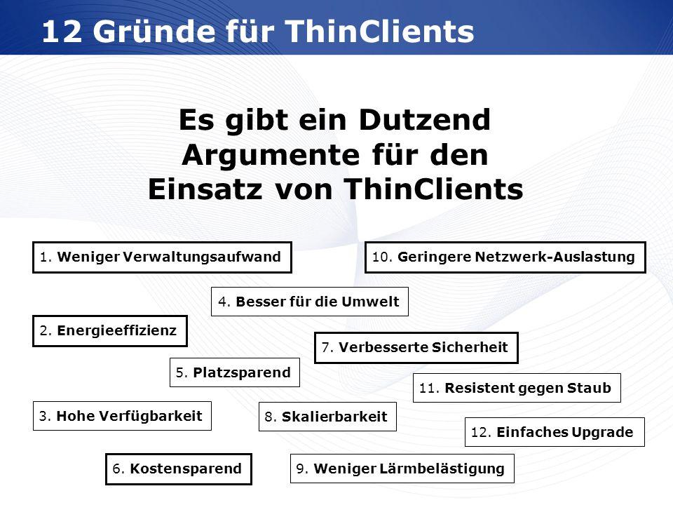 www.wortmann.de 12 Gründe für ThinClients 1. Weniger Verwaltungsaufwand 2. Energieeffizienz 3. Hohe Verfügbarkeit 4. Besser für die Umwelt 5. Platzspa