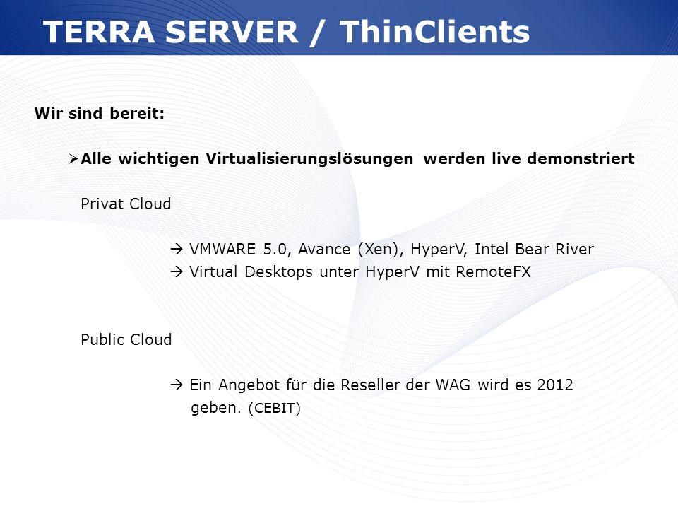 www.wortmann.de TERRA SERVER / ThinClients Wir sind bereit: Alle wichtigen Virtualisierungslösungen werden live demonstriert Privat Cloud VMWARE 5.0,