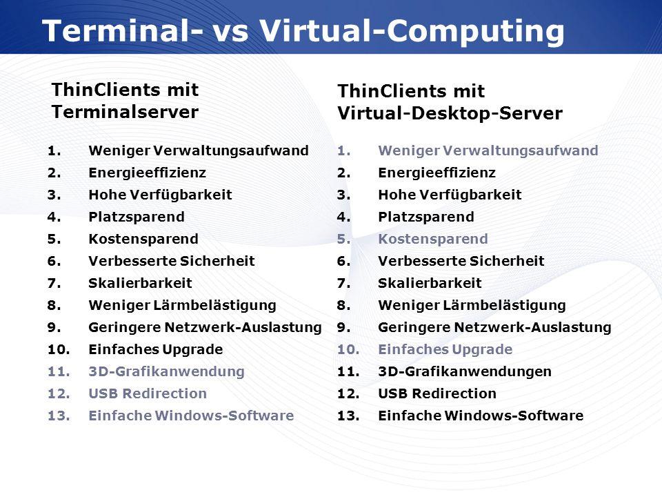 www.wortmann.de Terminal- vs Virtual-Computing ThinClients mit Virtual-Desktop-Server ThinClients mit Terminalserver 1.Weniger Verwaltungsaufwand 2.En