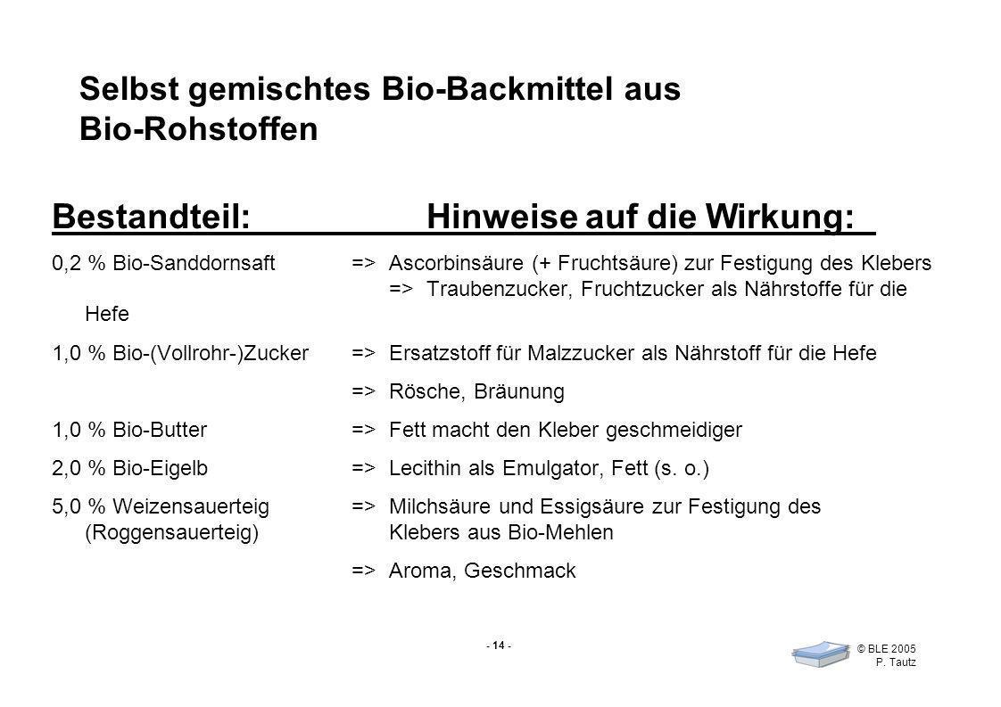 - 14 - © BLE 2005 P. Tautz Selbst gemischtes Bio-Backmittel aus Bio-Rohstoffen Bestandteil:Hinweise auf die Wirkung: 0,2 % Bio-Sanddornsaft =>Ascorbin