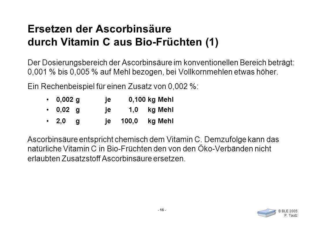 - 16 - © BLE 2005 P. Tautz Ersetzen der Ascorbinsäure durch Vitamin C aus Bio-Früchten (1) Der Dosierungsbereich der Ascorbinsäure im konventionellen