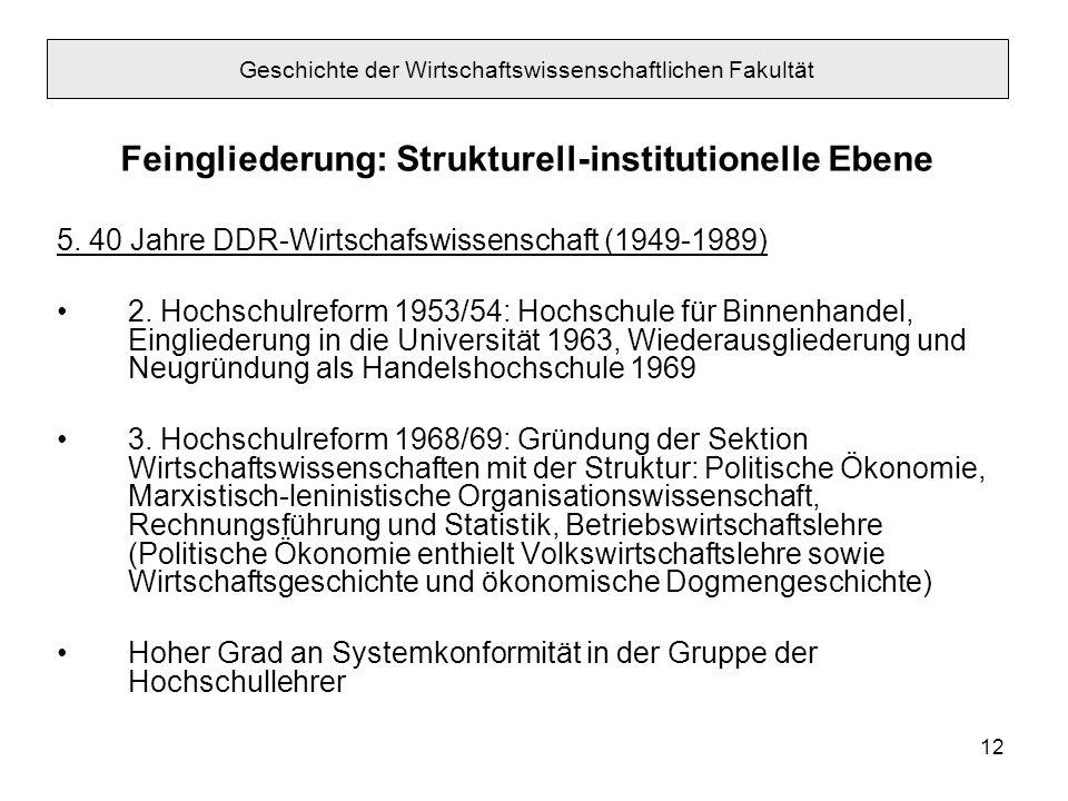 12 Feingliederung: Strukturell-institutionelle Ebene 5. 40 Jahre DDR-Wirtschafswissenschaft (1949-1989) 2. Hochschulreform 1953/54: Hochschule für Bin