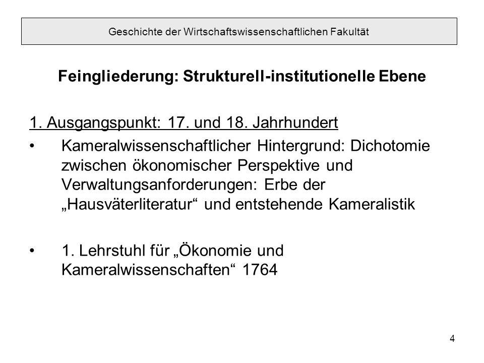4 Feingliederung: Strukturell-institutionelle Ebene 1. Ausgangspunkt: 17. und 18. Jahrhundert Kameralwissenschaftlicher Hintergrund: Dichotomie zwisch